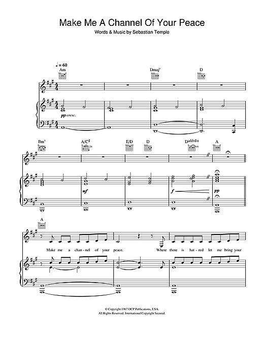 Susan Boyle Make Me A Channel Of Your Peace (Prayer Of St. Francis) sheet music notes and chords. Download Printable PDF.