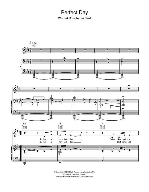 Susan Boyle Perfect Day sheet music notes and chords. Download Printable PDF.
