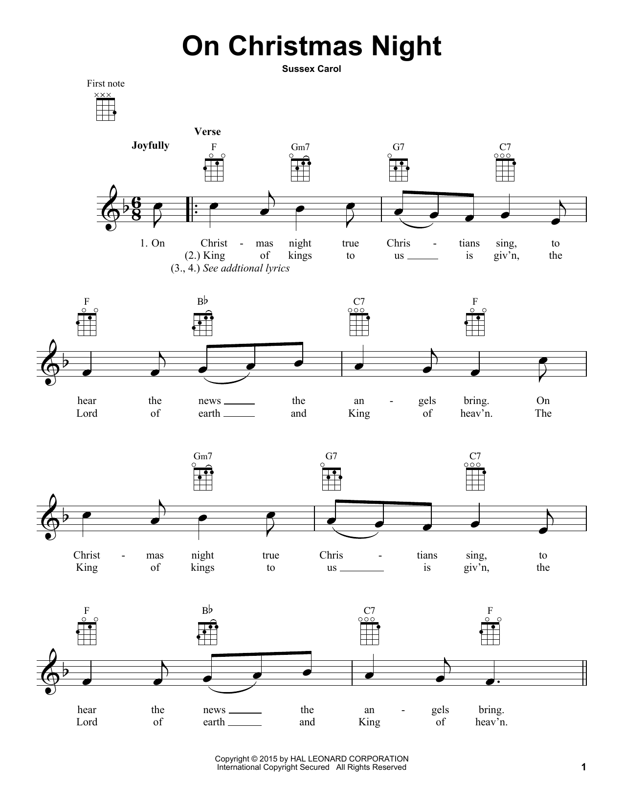 Sussex Carol On Christmas Night sheet music notes and chords. Download Printable PDF.