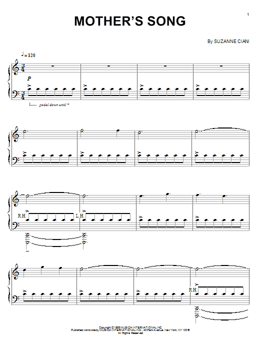 Suzanne Ciani Mother's Song sheet music notes and chords