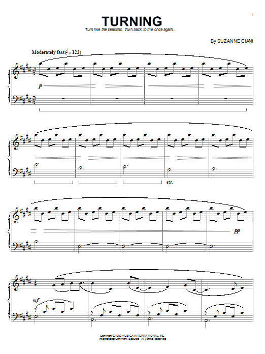 Suzanne Ciani Turning sheet music notes and chords. Download Printable PDF.