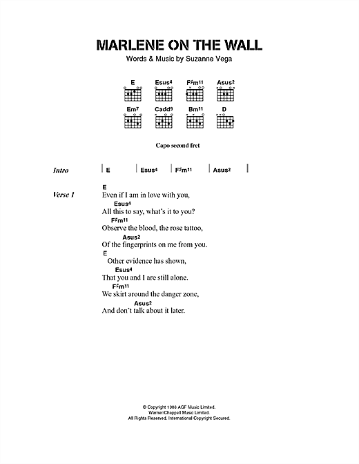 Suzanne Vega Marlene On The Wall sheet music notes and chords