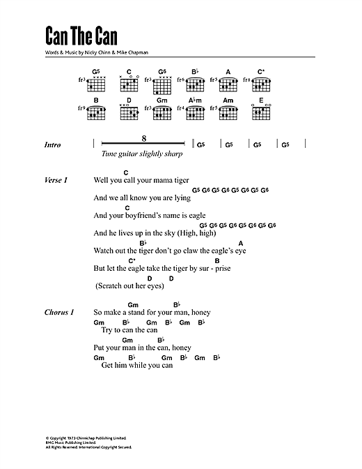 Suzi Quatro Can The Can sheet music notes and chords. Download Printable PDF.