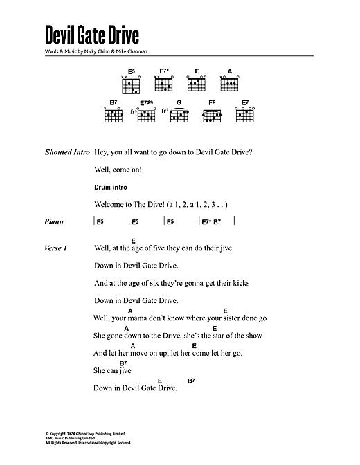 Suzi Quatro Devil Gate Drive sheet music notes and chords. Download Printable PDF.