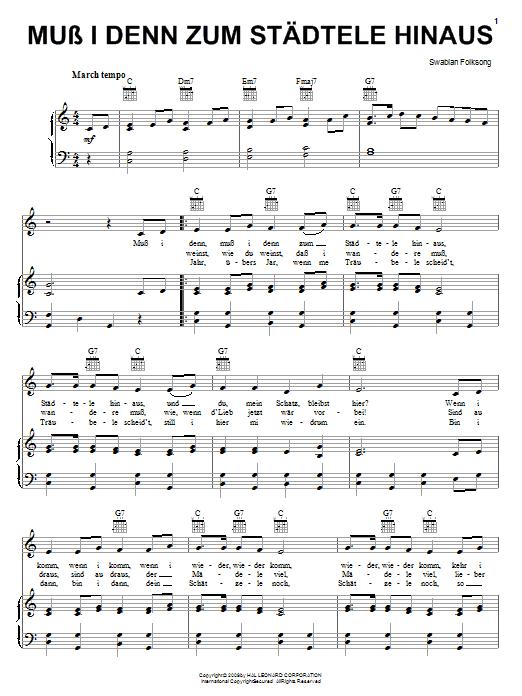 Swabian Folksong Muss I Denn Zum Stadtele Hinaus sheet music notes and chords. Download Printable PDF.
