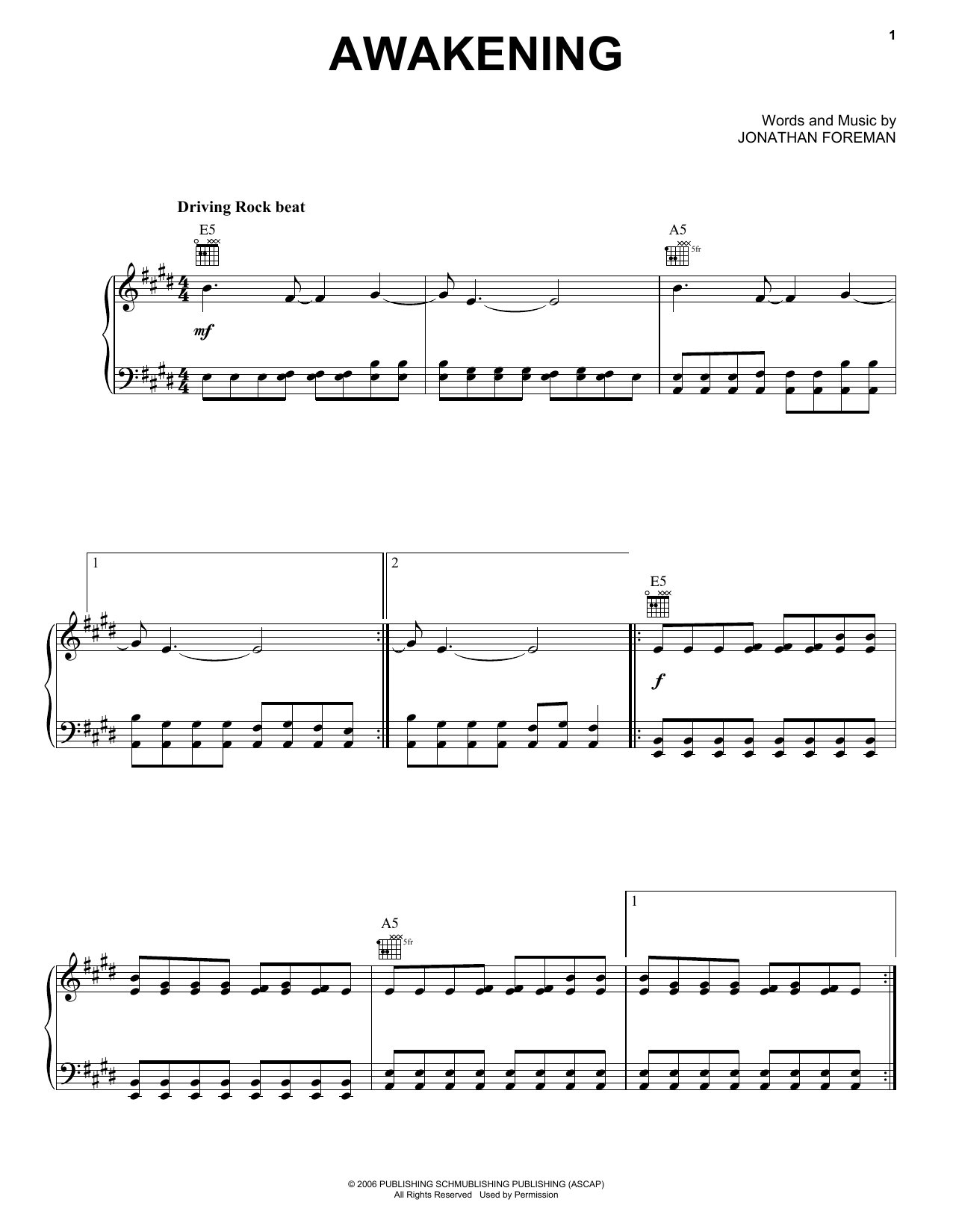 Switchfoot Awakening Sheet Music Notes, Chords   Download Printable Piano,  Vocal & Guitar Right Hand Melody PDF Score   SKU 15