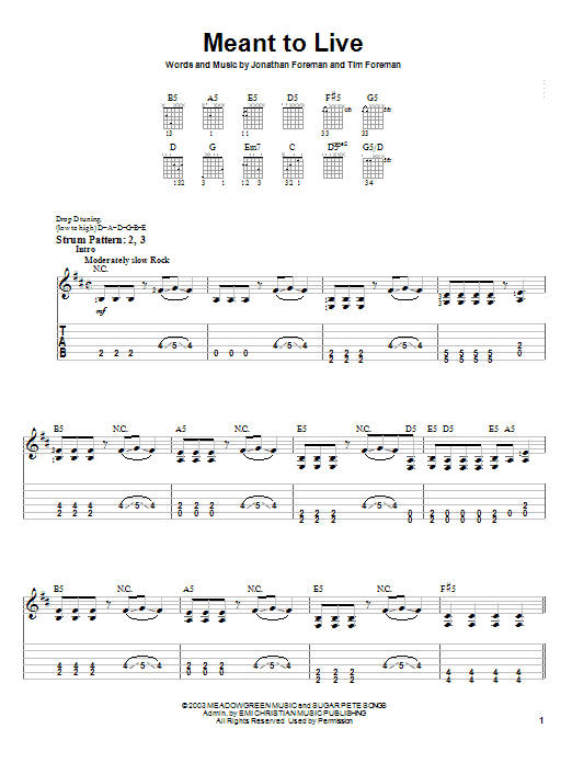 Switchfoot Meant To Live sheet music notes and chords. Download Printable PDF.