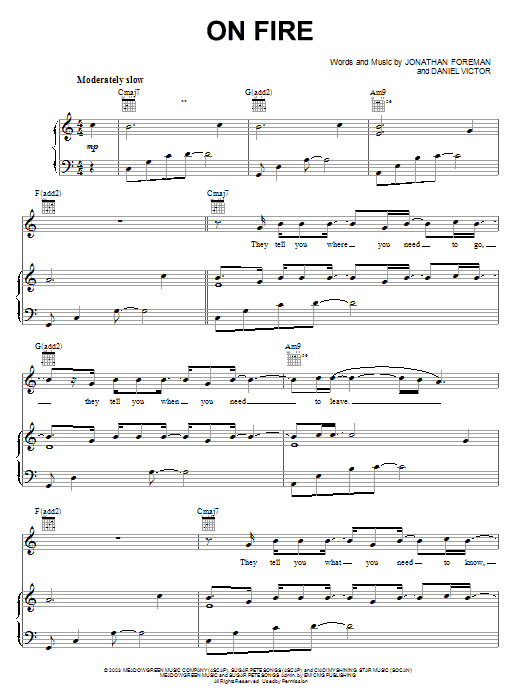 Switchfoot On Fire sheet music notes and chords. Download Printable PDF.
