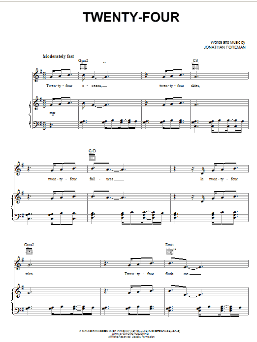 Switchfoot Twenty-Four sheet music notes and chords. Download Printable PDF.