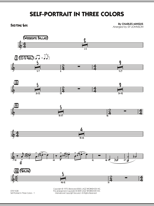 Sy Johnson Self-Portrait In Three Colors - Baritone Sax sheet music notes and chords. Download Printable PDF.