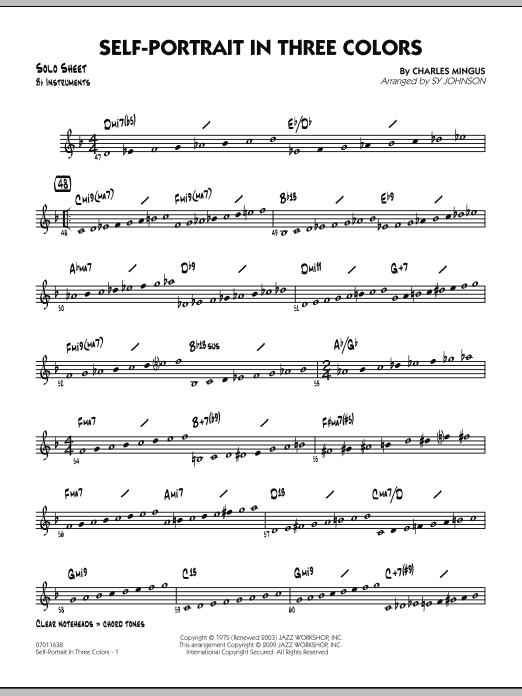 Sy Johnson Self-Portrait In Three Colors - Bb Solo Sheet sheet music notes and chords. Download Printable PDF.