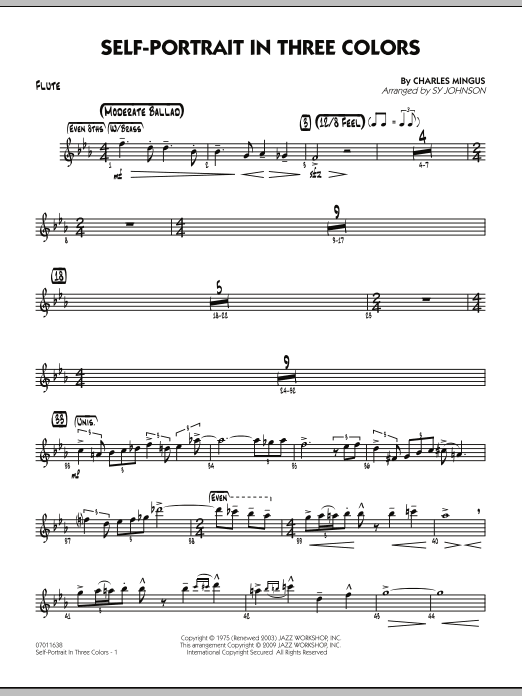 Sy Johnson Self-Portrait In Three Colors - Flute sheet music notes and chords. Download Printable PDF.