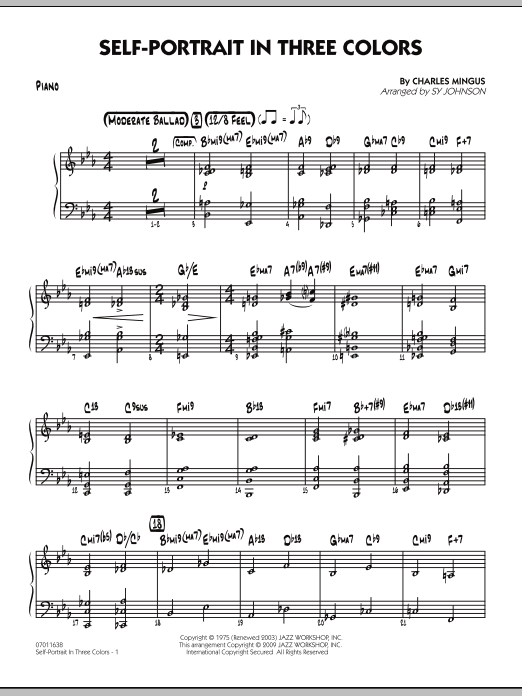 Sy Johnson Self-Portrait In Three Colors - Piano sheet music notes and chords. Download Printable PDF.
