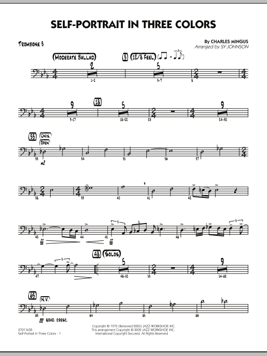 Sy Johnson Self-Portrait In Three Colors - Trombone 3 sheet music notes and chords. Download Printable PDF.