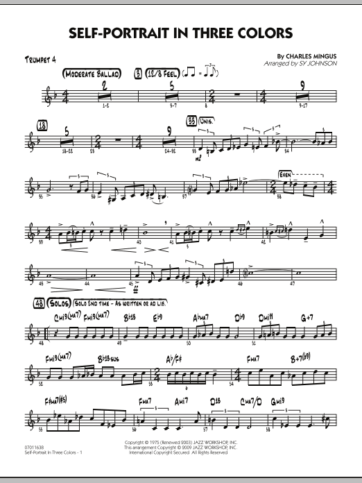 Sy Johnson Self-Portrait In Three Colors - Trumpet 4 sheet music notes and chords. Download Printable PDF.