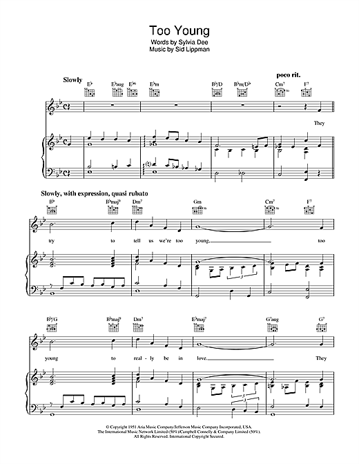 Sylvia Dee Too Young sheet music notes and chords. Download Printable PDF.
