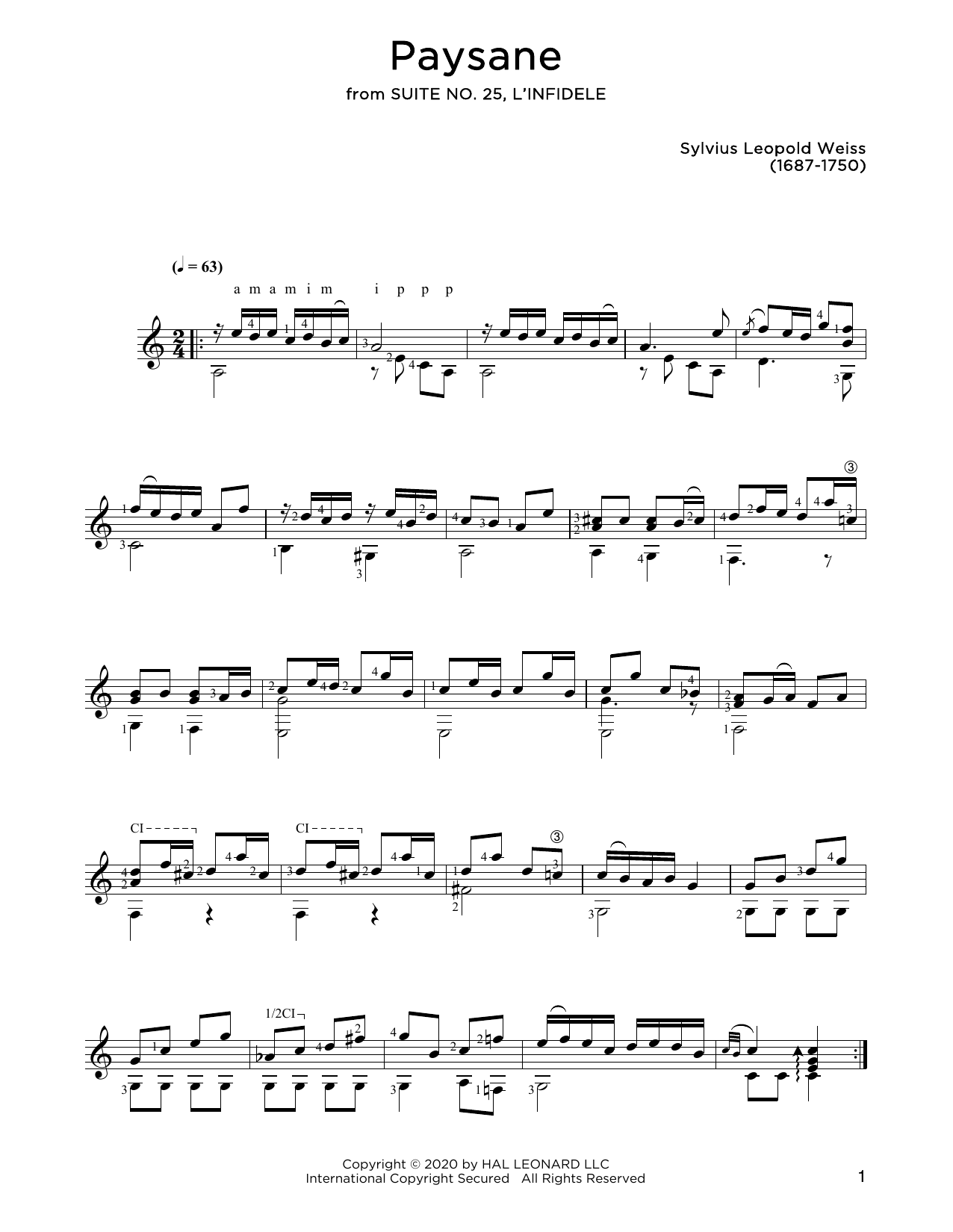 Sylvius Leopold Weiss Paysane sheet music notes and chords. Download Printable PDF.