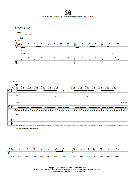 System Of A Down 36 sheet music notes and chords