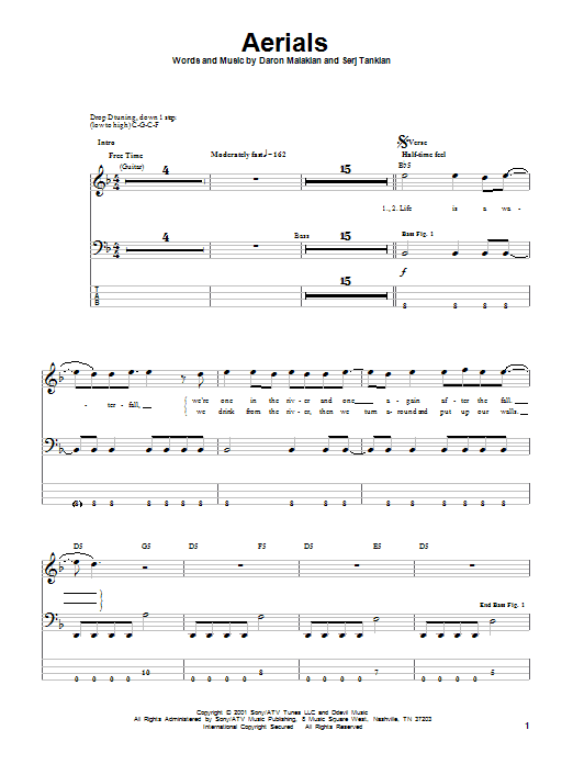 System Of A Down Aerials sheet music notes and chords. Download Printable PDF.