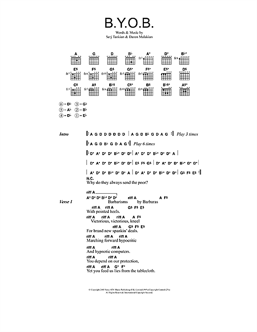 System Of A Down B.Y.O.B. sheet music notes and chords. Download Printable PDF.