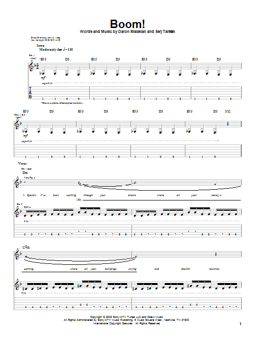 System Of A Down Boom! sheet music notes and chords