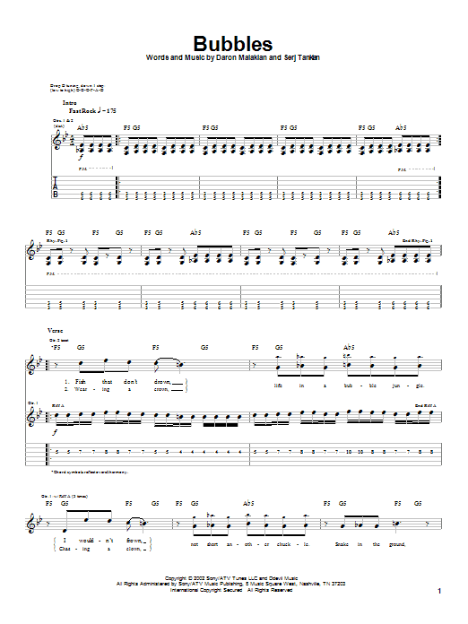 System Of A Down Bubbles sheet music notes and chords. Download Printable PDF.