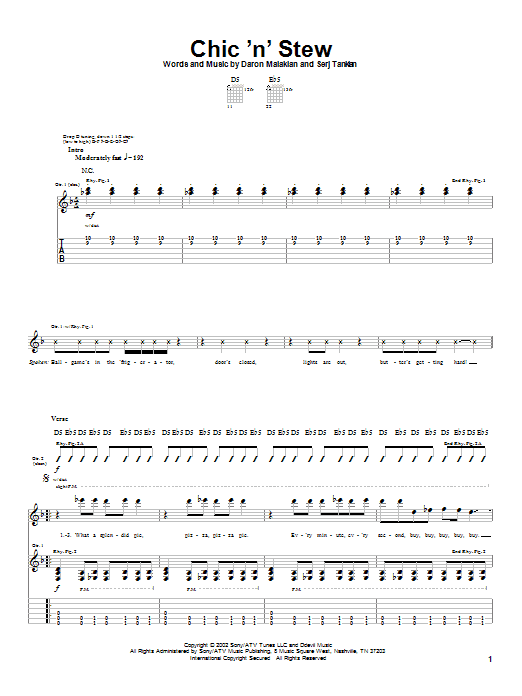System Of A Down Chic 'N' Stew sheet music notes and chords. Download Printable PDF.