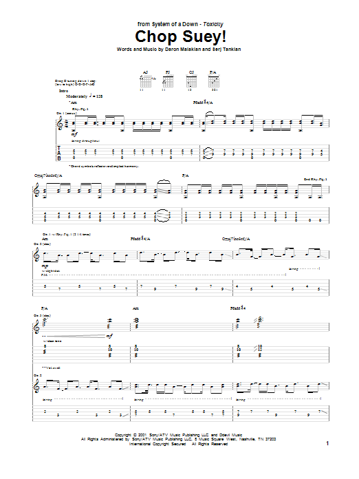 System Of A Down Chop Suey! sheet music notes and chords