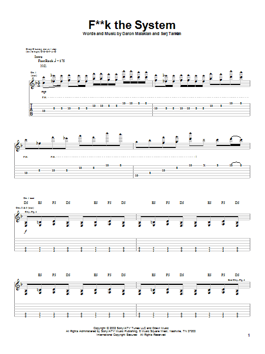 System Of A Down F**k The System sheet music notes and chords. Download Printable PDF.