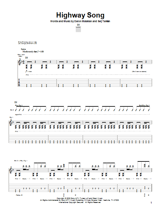 System Of A Down Highway Song sheet music notes and chords