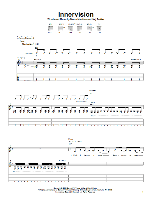 System Of A Down Innervision sheet music notes and chords