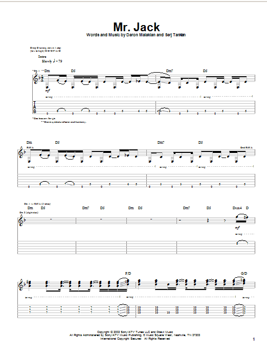 System Of A Down Mr. Jack sheet music notes and chords. Download Printable PDF.