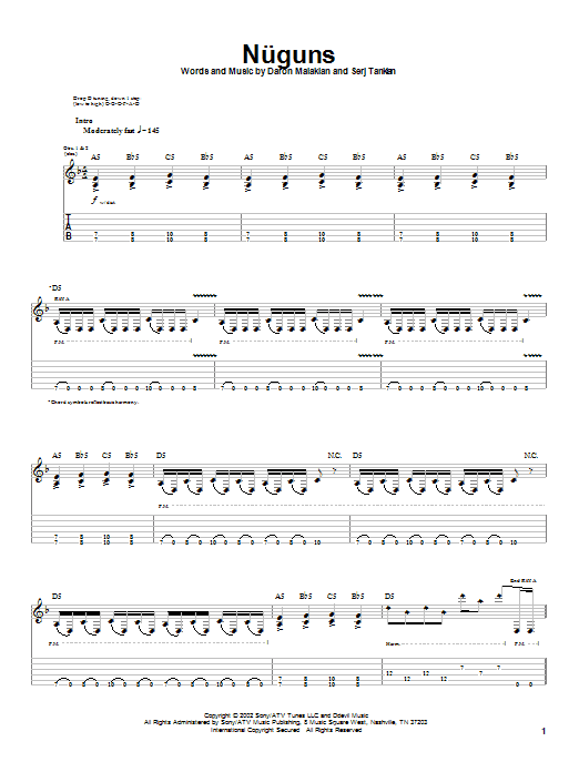 System Of A Down Nuguns sheet music notes and chords. Download Printable PDF.