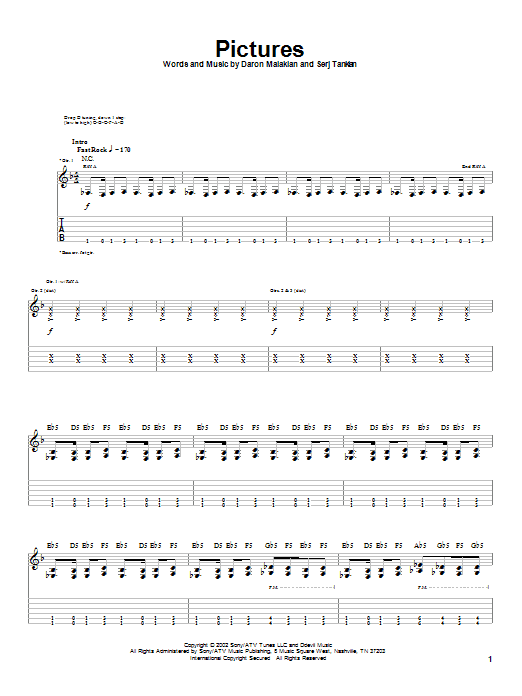 System Of A Down Pictures sheet music notes and chords. Download Printable PDF.