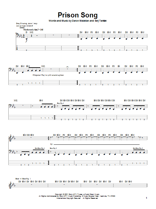System Of A Down Prison Song sheet music notes and chords