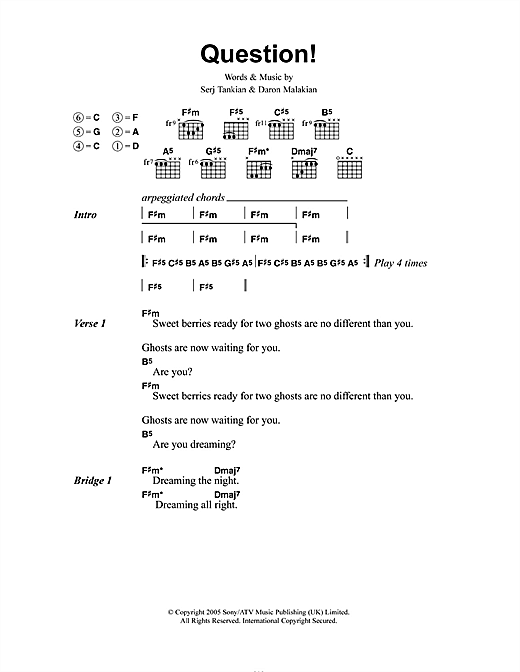 System Of A Down Question! sheet music notes and chords. Download Printable PDF.