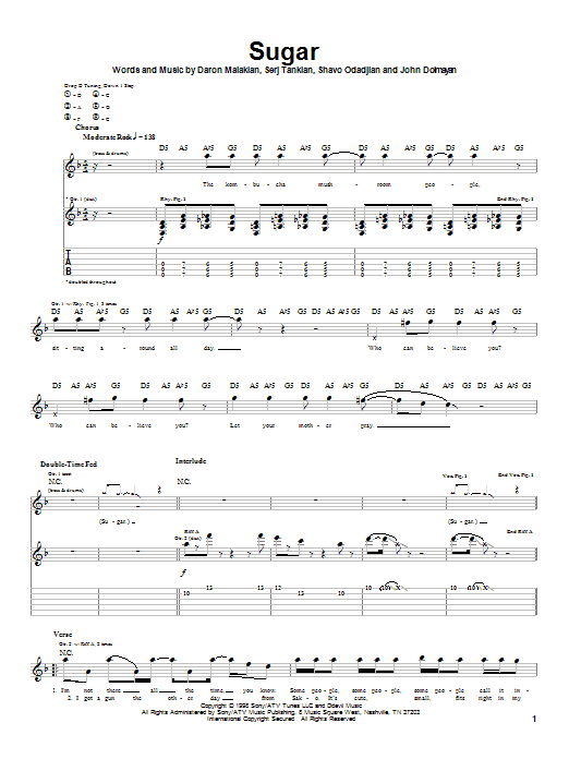 System Of A Down Sugar sheet music notes and chords
