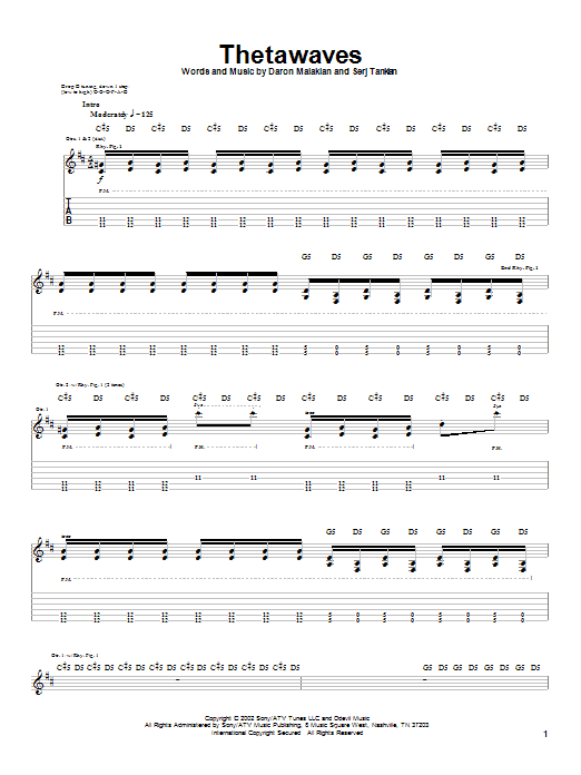 System Of A Down Thetawaves sheet music notes and chords. Download Printable PDF.