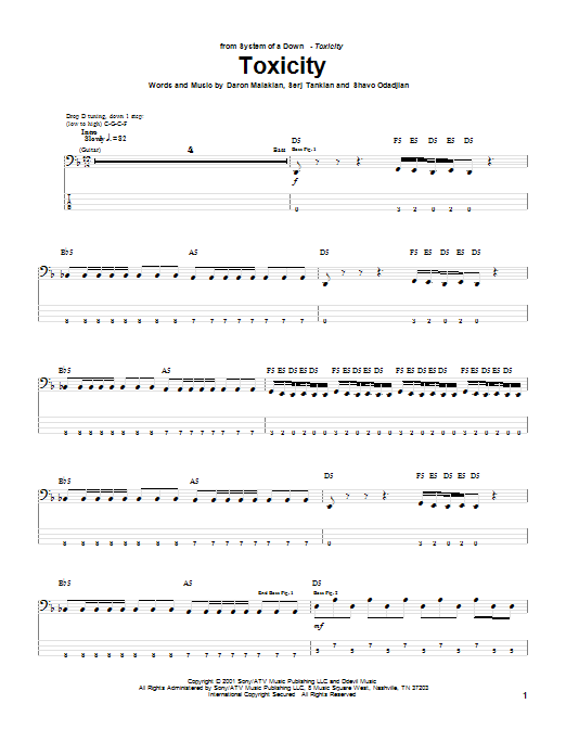 System Of A Down Toxicity sheet music notes and chords. Download Printable PDF.