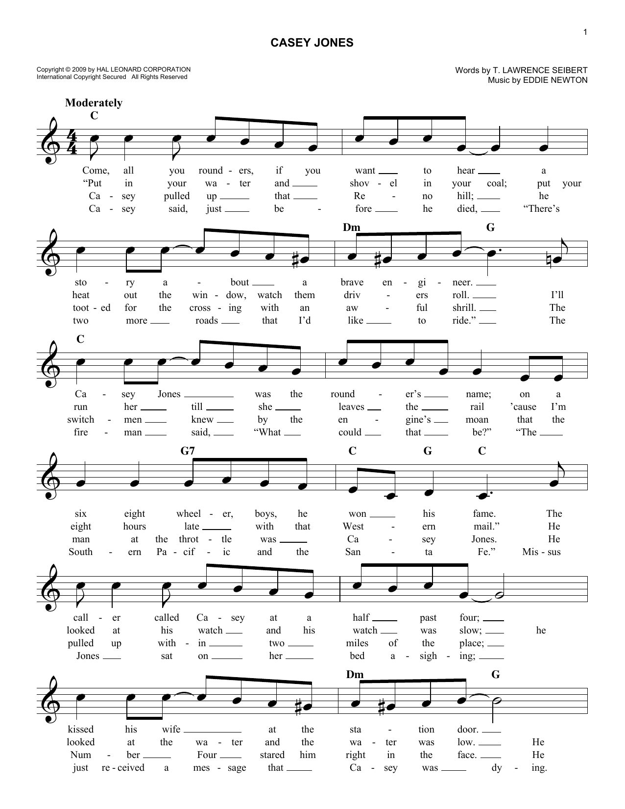 T. Lawrence Seibert Casey Jones sheet music notes and chords. Download Printable PDF.