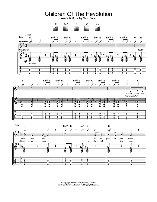 T. Rex Children Of The Revolution sheet music notes and chords. Download Printable PDF.