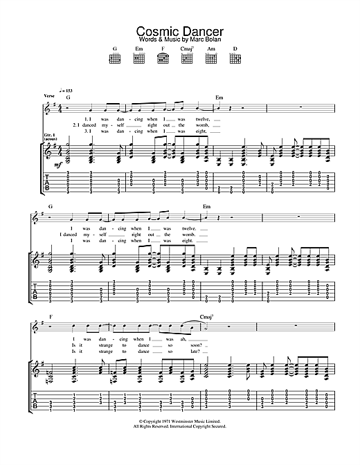 T. Rex Cosmic Dancer sheet music notes and chords. Download Printable PDF.