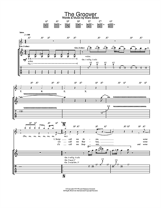 T. Rex The Groover sheet music notes and chords
