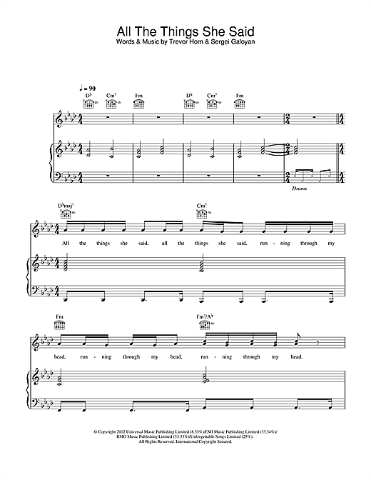 t.A.T.u. All The Things She Said sheet music notes and chords. Download Printable PDF.