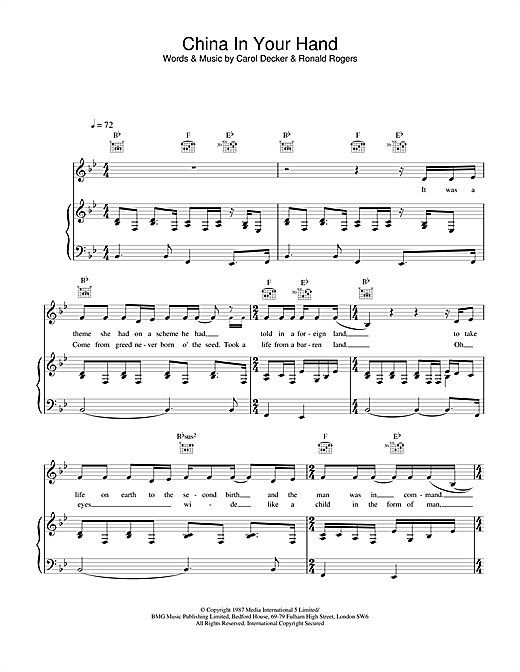 T'Pau China In Your Hand sheet music notes and chords