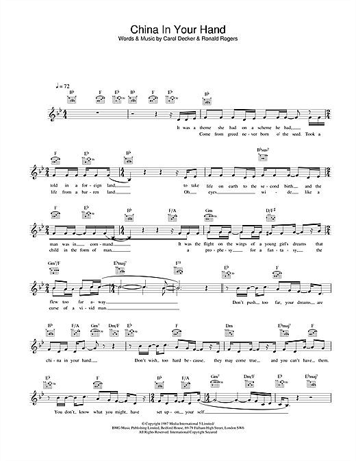 T'Pau China In Your Hand sheet music notes and chords. Download Printable PDF.