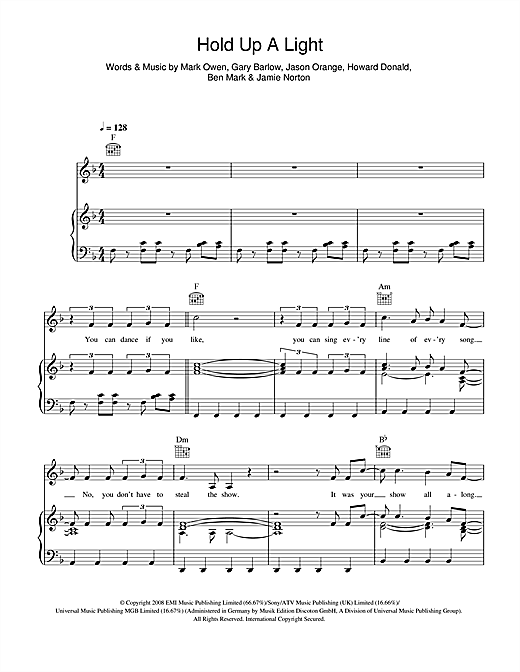 Take That Hold Up A Light sheet music notes and chords. Download Printable PDF.