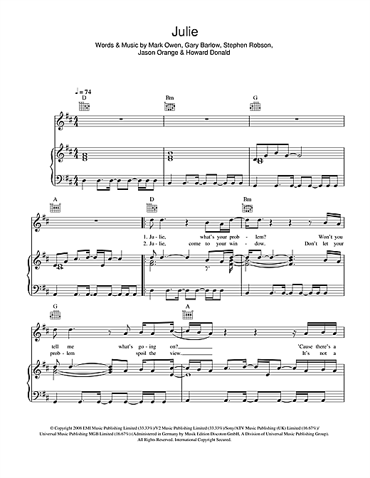 Take That Julie sheet music notes and chords. Download Printable PDF.