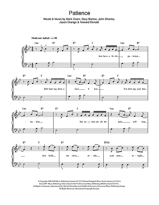 Take That Patience sheet music notes and chords. Download Printable PDF.