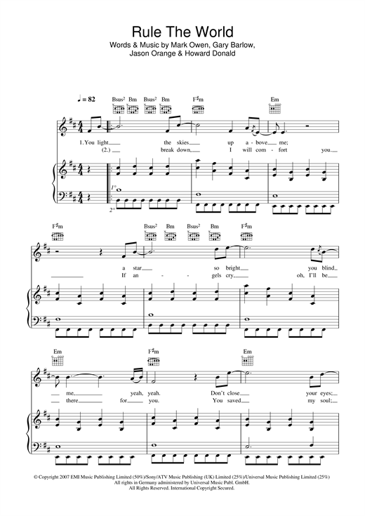 Take That Rule The World (from Stardust) sheet music notes and chords. Download Printable PDF.
